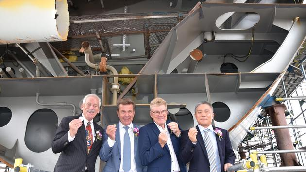 Keel-laying ceremony for M/V Ocean Victory.