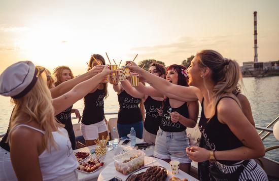 Group of women celebrating a bachelorette party