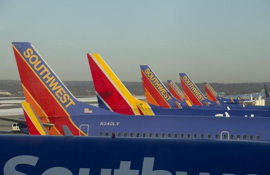 A row of Southwest Airlines planes at Baltimore-Washington International Airport