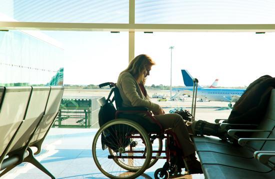 wheelchair, woman, airport, plane, boarding