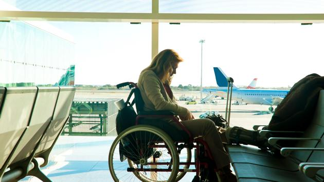 wheelchair, woman, airport, plane, boarding