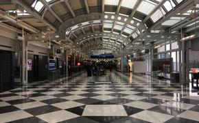 nearly vacant terminal at Chicago O'Hare International Airport