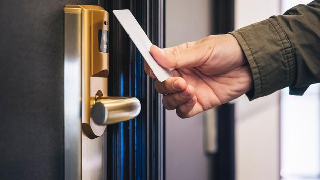 Hotel key card.
