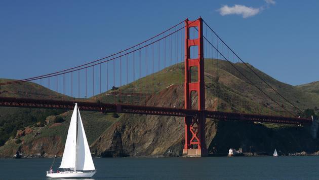 Sailboat, San Francisco, golden gate bridge