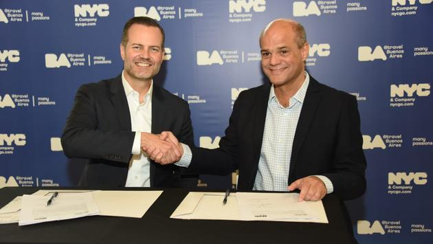 NYC & Company president and CEO Fred Dixon (left) and Buenos Aires City Tourist Board CEO Gonzalo Robredo (right)