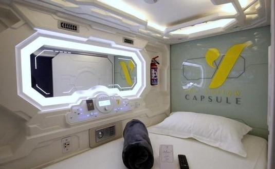 One of the capsules of the Yellow COne of the capsules at the Yellow Capsule Hotelapsule Hotel.