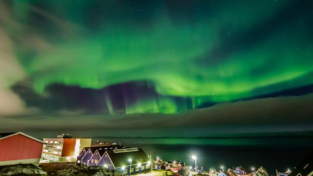 Northern lights over Nuuk, Greenland