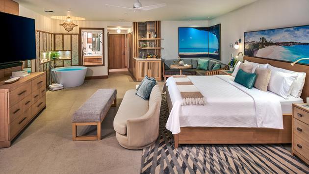 South Seas Hideaway Crystal Lagoon Swim-up Suite bedroom area, Sandals Royal Barbados.