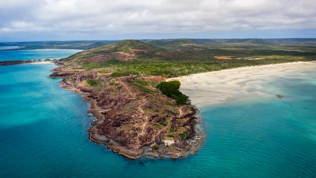Aerial view of the tip of Australia's Cape York Peninsula