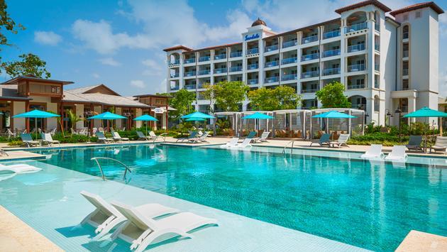 South Seas Village pool area at Sandals Royal Barbados.