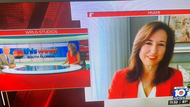 """Carnival President Christine Duffy appears April 11, 2021, on WPLG's """"This Week in South Florida"""" TV program. appears on"""