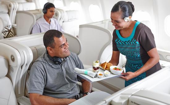 The in-flight crew onboard Fiji Airways.