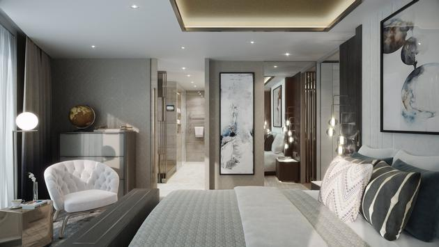A rendering of the Penthouse Suite onboard the Crystal Endeavor.