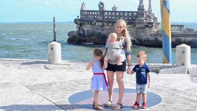 mom and 3 kids, Vizcaya Museum and Gardens, Miami