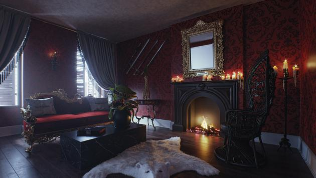 Addams' Family replica's living room.