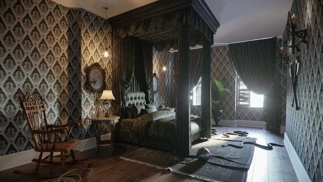 Addams Family mansion's master bedroom.