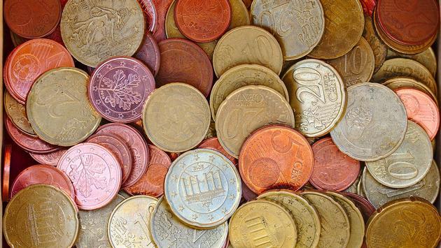 Euros coins spare change.