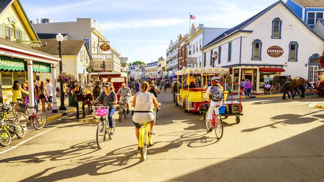 Vacationers on Market Street on Mackinac Island