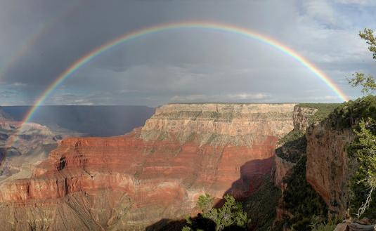Rainbow over Arizona's Grand Canyon National Park