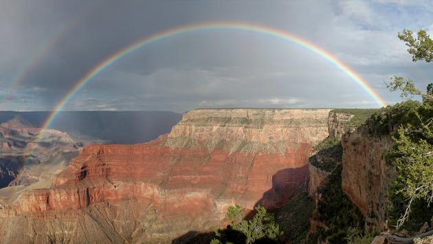 Rainbow over Arizona's Grand Canyon National Park