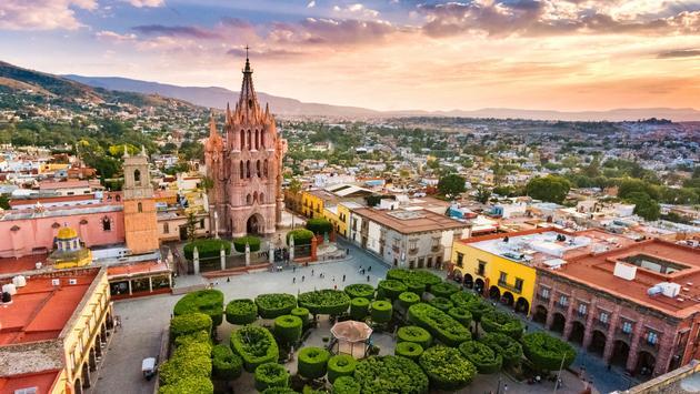 Aerial View of San Miguel de Allende in Guanajuato, Mexico.
