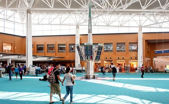 The main terminal inside Portland International Airport