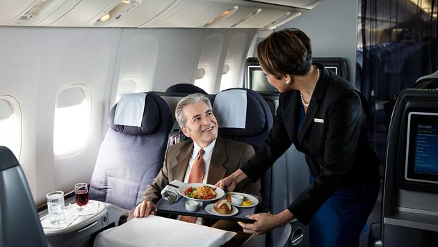 United Airlines' First-Class Meal Service.