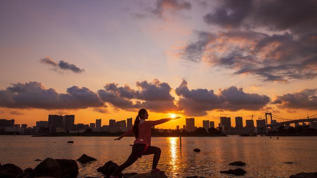 Tokyo, bay, athlete, yoga