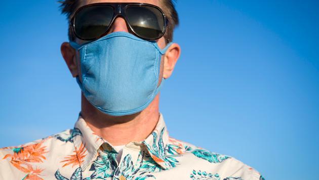 Cruise passenger wearing a face mask