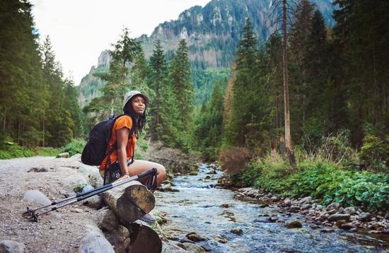 solo travel, woman, nature, river, black woman