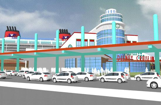 Rendering of upgraded Disney Cruise Terminal 8 at Port Canaveral