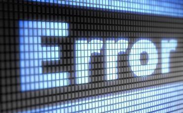 Error message on computer screen