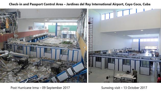A shot of the devastation wrought by Hurricane Irma at Jardines del Rey Airport in Cayo Coco, Cuba, and how repair work is rapidly progressing.