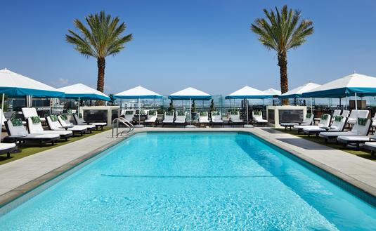The rooftop pool at The London West Hollywood at Beverly Hills.
