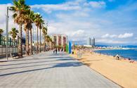 Playa Barceloneta beach in Barcelona, Spain