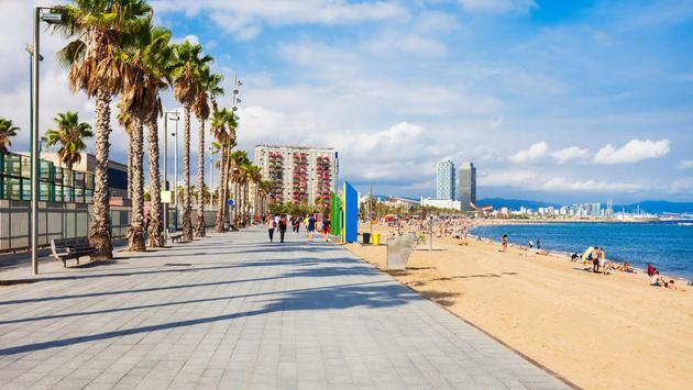 Playa Barceloneta beach in Barcelona, Spain