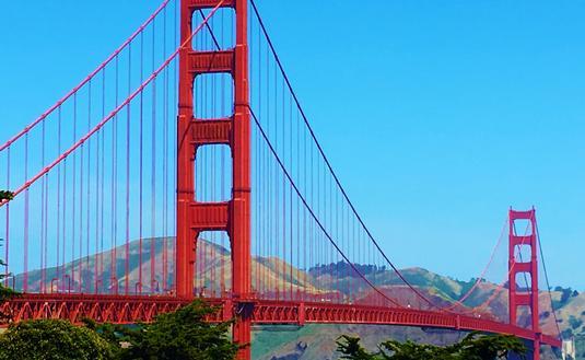 The iconic Golden Gate Bridge in San Francisco, California