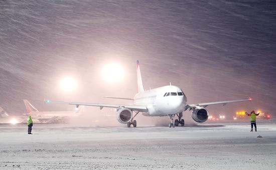 winter, snow, plane