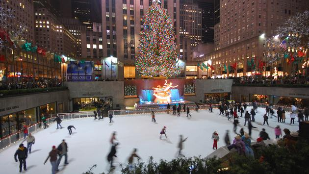 Ice skating in New York at Christmas