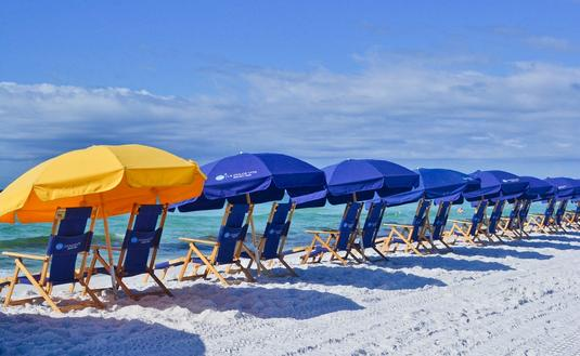 beach umbrellas, Florida, Gulf Coast, 30A, Miramar Beach