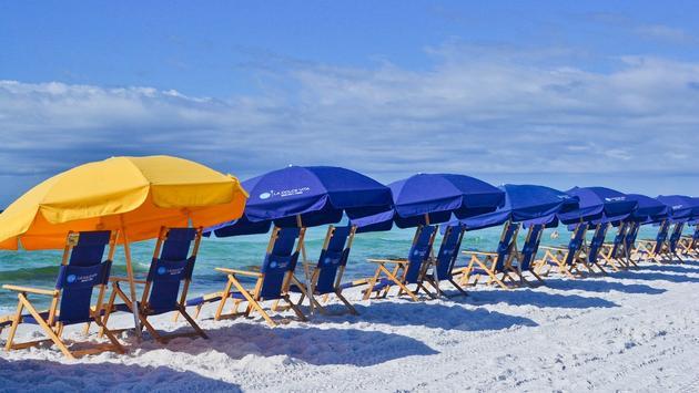 beach umbrellas, Florida, Gulf Coast, 30A, Miramar Beach