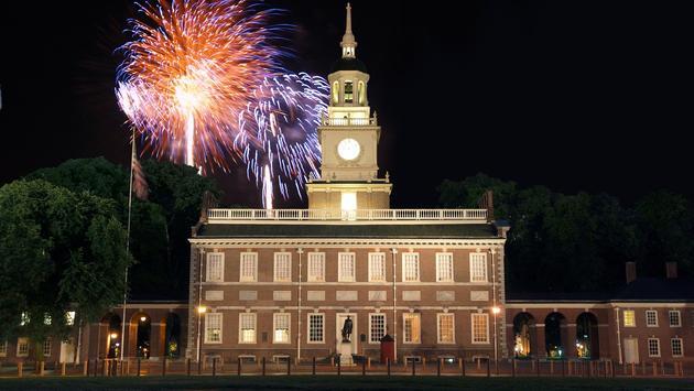Fireworks over Independence Hall in Philadelphia