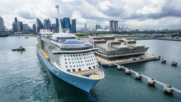 Quantum of the Seas at Marina Bay Cruise Center in Singapore.