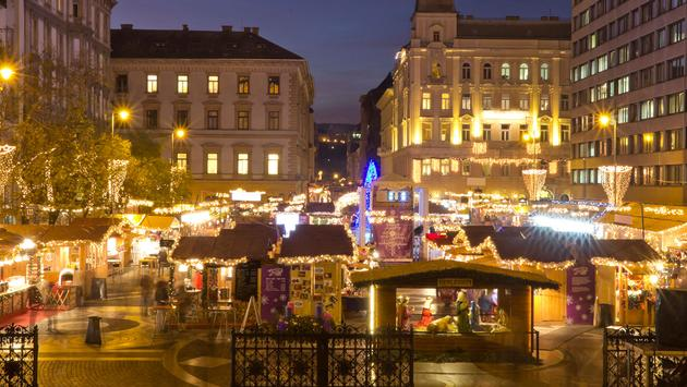 Christmas fair before the Saint Stephen's Basilica in Budapest