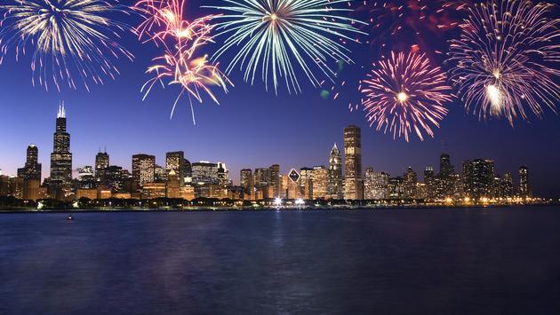 Fireworks over the Chicago skyline