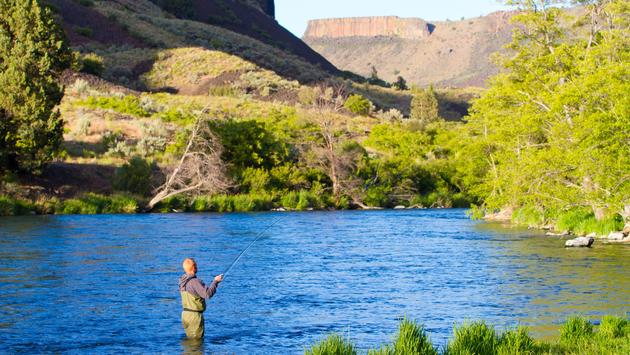 Fly fishing the Deschutes River in Oregon