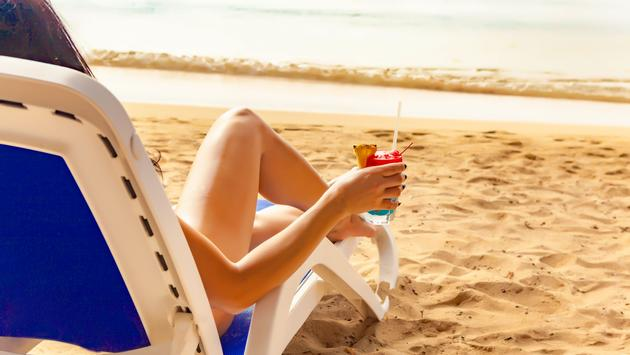 Hedo Girl On Beach with Cocktail