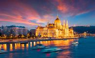 Dramatic sunset in Budapest