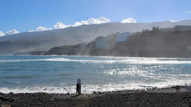 The black sand beach in Puerto de la Cruz on the north side of Tenerife