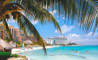 Cancun beach with hotels.